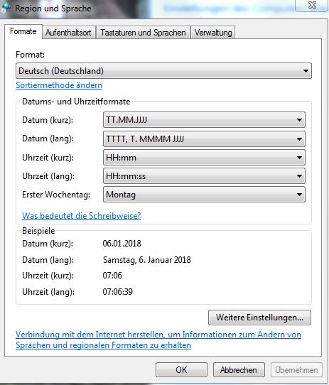 Region und Sprache Fenster Windows